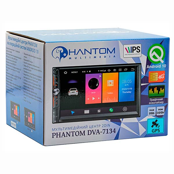 Автомагнитола 2DIN Phantom DVA-7134 Android 10 (Q)